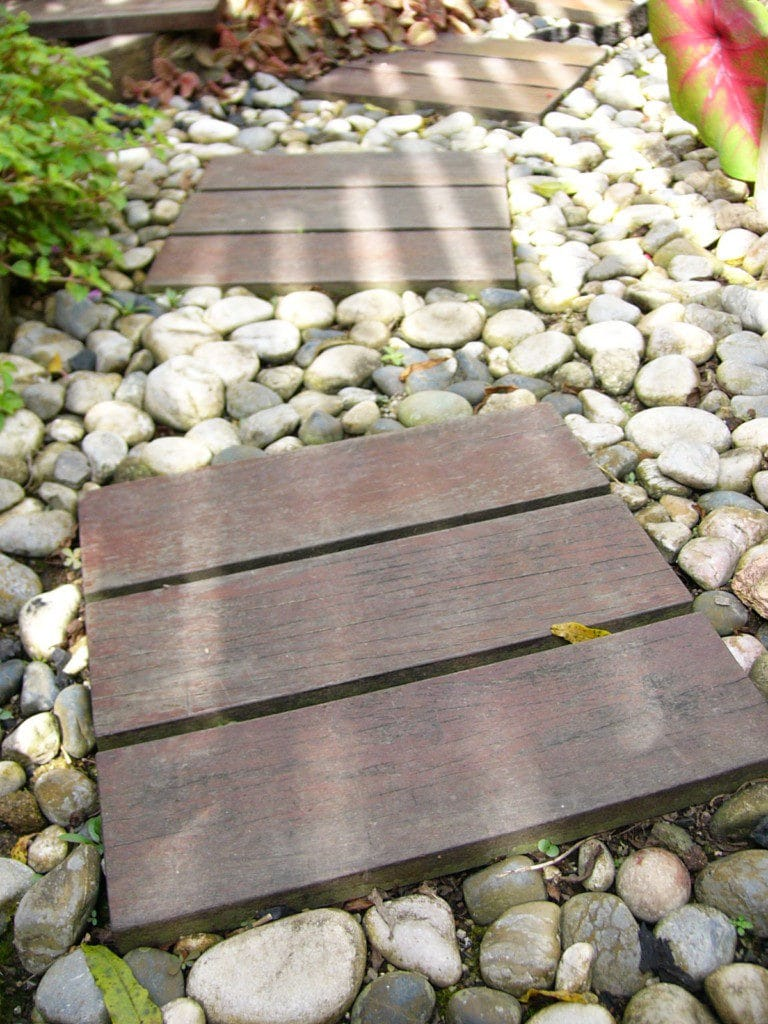 Wooden steps among pebbles and plants