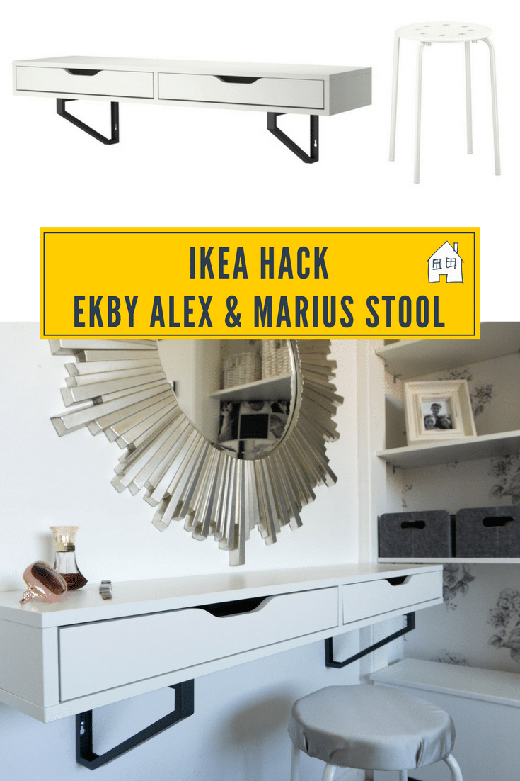IKEA HACK EKBY ALEX HACK into a dressing table. Looking a creating a dressing table from a IKEA EKBY ALEX shelf, then take a look at this post. It works brilliant with a grey and white bedroom decor, and lots of storage. I also have put together a IKEA MARIUS stool hack to make it a little more comfy!