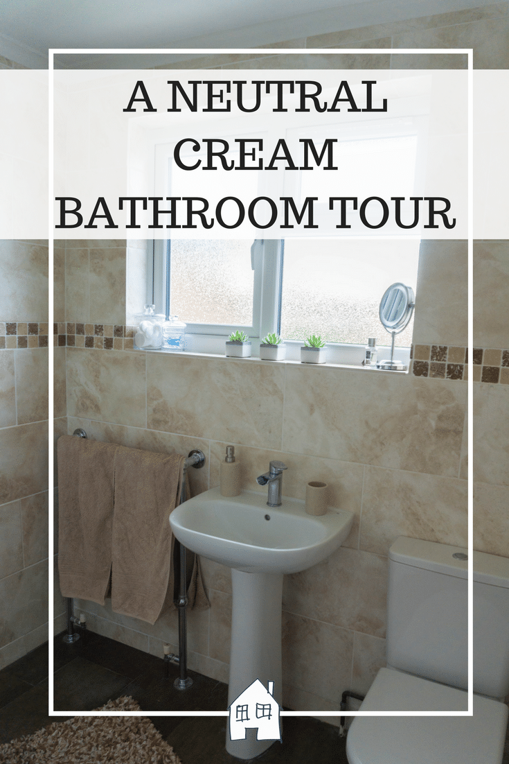A NEUTRAL CREAM BATHROOM TOUR. Large cream tiles, with brown and bronze mosaic tiles. Adding in accessories to create a luxe finish to the bathroom. Brown and cream bathroom. Cream and brown shower room. Bathroom tour with accessories.