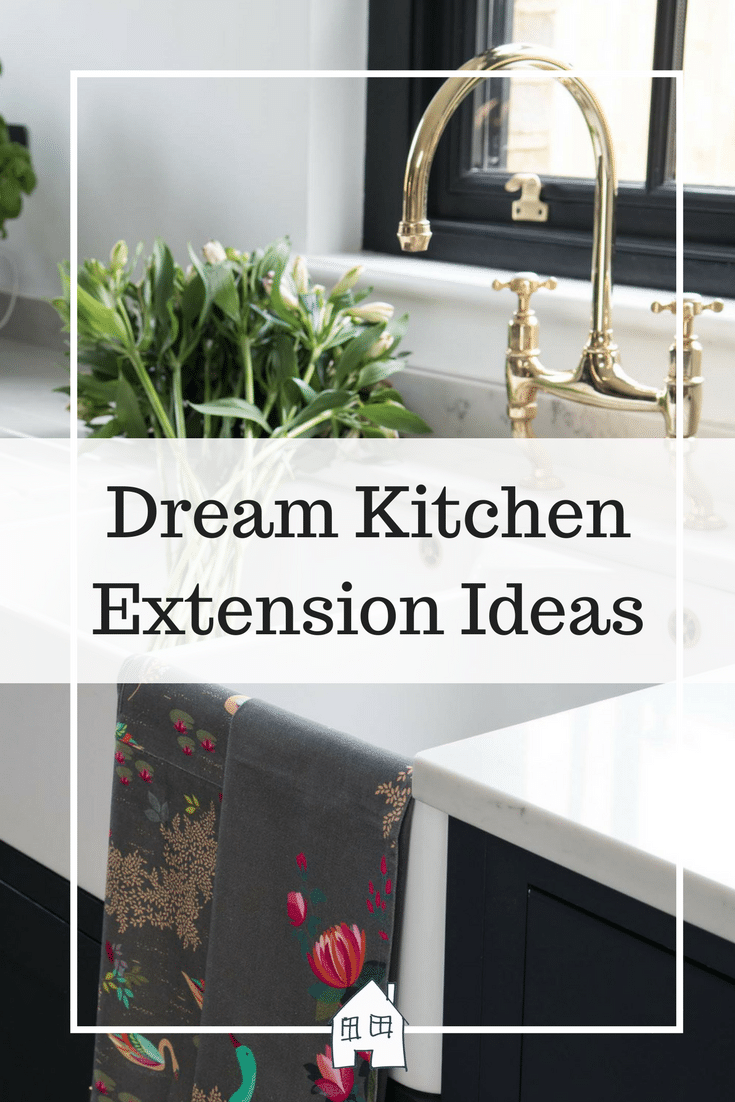 dream kitchen extension ideas. with dark kitchen units with white worktops and gold kitchen taps