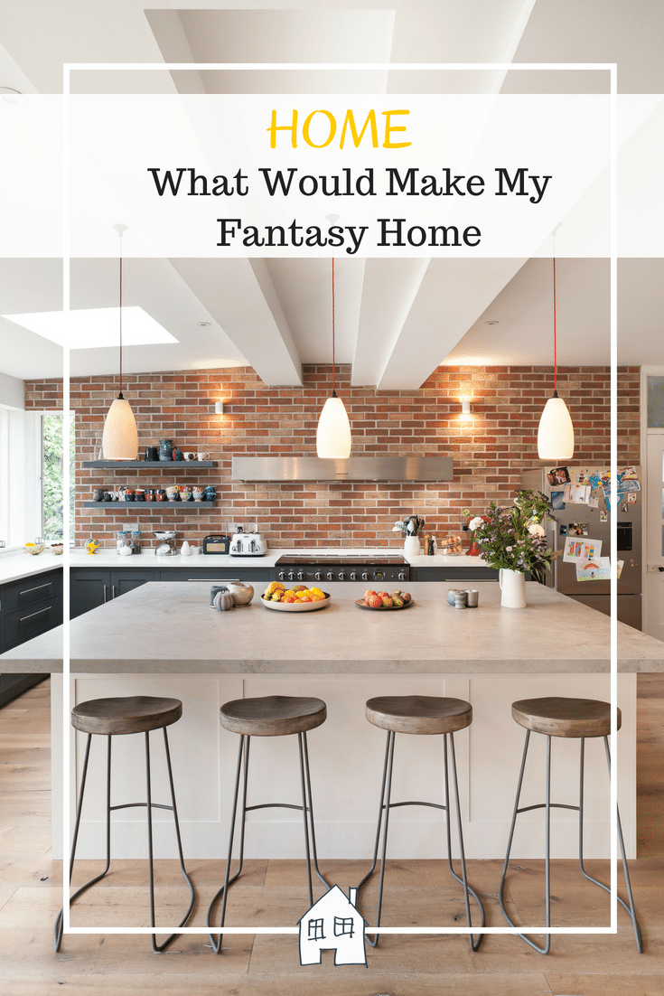 We can all dream about our dream home can't we. Here is my fantasy dream home ideas. This kitchen with it's brick slips and dark units. With a white kitchen island is a perfect kitchen