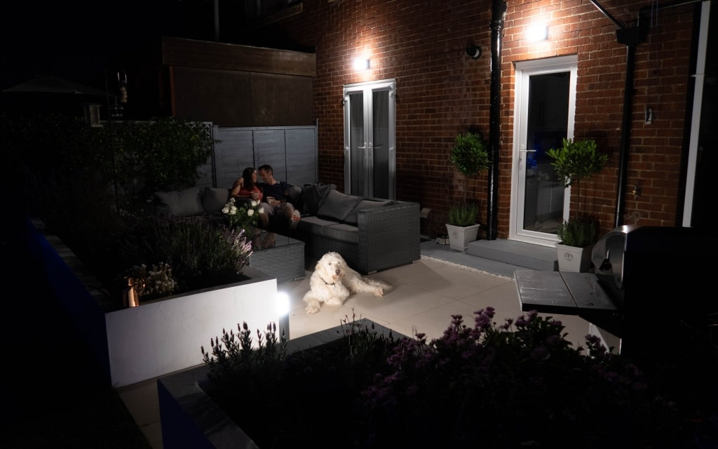 Philips hue smart outdoor lights on patio area