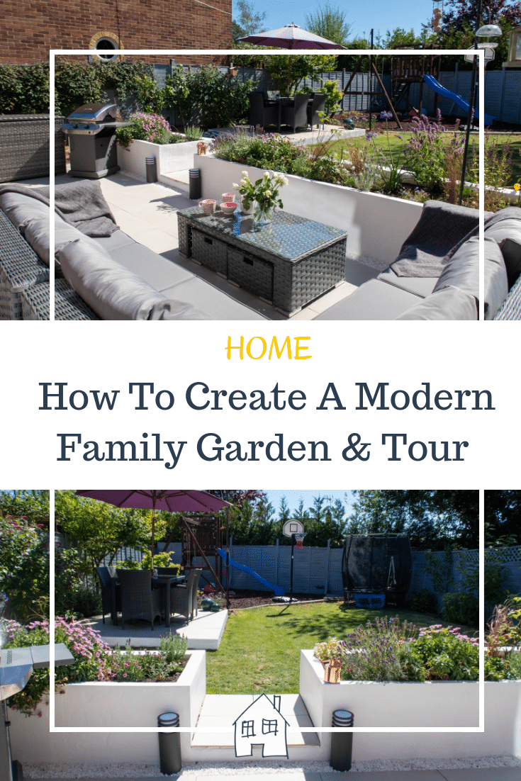 how to create a modern family garden that suits everyone. With garden space to relax in the garden, childrens play area, space to relax and space to eat. This modern family garden is perfect for this. Head over to see the garden tour video or garden tour blog post for lots of ideas